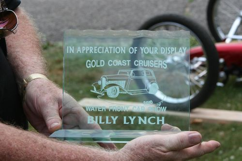 Award in appreciation of Billy's display